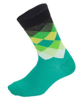 Green Geometric Cycling Socks