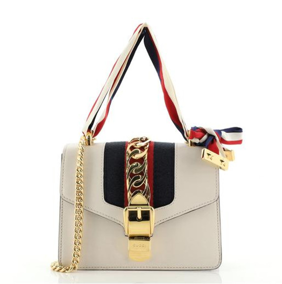 GUCCI White Leather Sylvie Mini Chain Bag