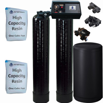Dual Alternating Tank 1 cubic Foot (32k) Fleck 9100 On Demand Whole Home Water Softener with High Capacity Resin