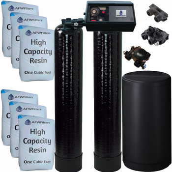 Dual Alternating Tank 3 cubic Foot (96k) Fleck 9100 On Demand Whole Home Water Softener with High Capacity Resin