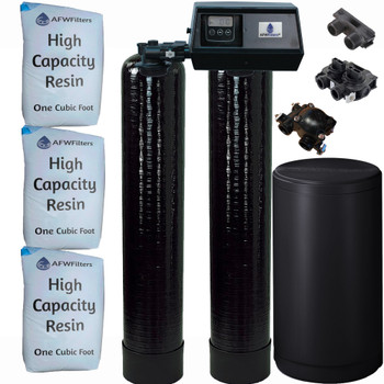 Dual Alternating Tank 1.5 cubic Foot (48k) Fleck 9100SXT On Demand Whole Home Water Softener with High Capacity Resin