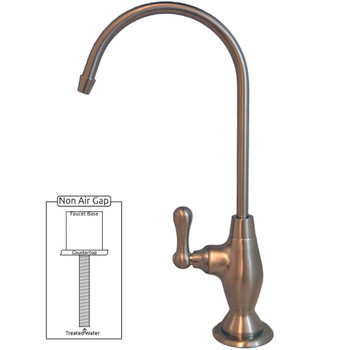 PURETECK Euro Style Non-Airgap Candy Cane RO Faucet - Brushed Nickel
