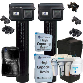 Whole Home Treatment - 8 GPM - 48k Water Softener and Air Injection Gold 10 System with Fleck 2510SXT PLUS Drinking Water RO