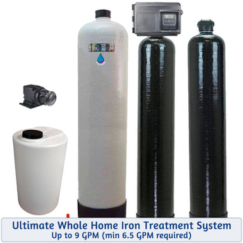 Whole Home Package for Bacteria-Iron-Smells-Tastes-Odors- Includes Chlorine Injection, Mixing Tank, Filox Iron Filter, and Upflow Carbon Filter, treats up to 9 GPM