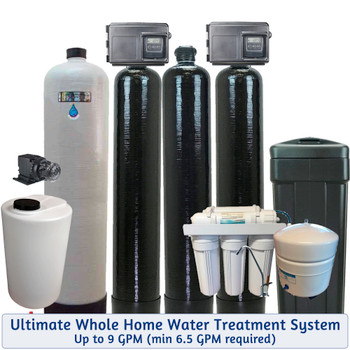 Whole House Chlorine Injection, Mixing Tank, Filox Iron Filter, Upflow Carbon Filter, and 48k Water Softener -For Bacteria-Iron-Smells-Tastes-Odors-Hardness-up to 9 GPM - Plus Drinking Water RO