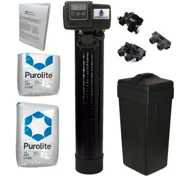 Complete 1.5 Cu Ft (48k max) Purolite C100E Water Softener with Fleck 5600SXT Digital Metered Control Head