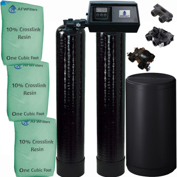 Dual Alternating Tank Upgraded 1.5 cubic Foot (48k) Fleck 9100SXT On Demand Whole Home Water Softener with 10% Crosslink Resin