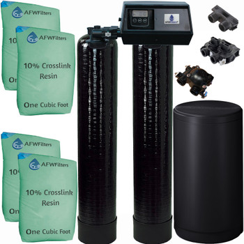 Dual Alternating Tank Upgraded 2 cubic Foot (64k) Fleck 9100SXT On Demand Whole Home Water Softener with 10% Crosslink Resin
