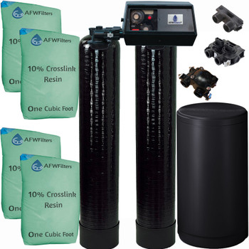 Dual Alternating Tank Upgraded 2 cubic Foot (64k) Fleck 9100 On Demand Whole Home Water Softener with 10% Crosslink Resin