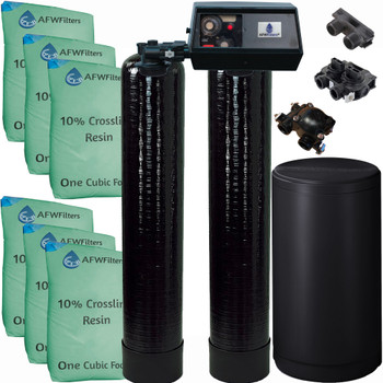 Dual Alternating Tank Upgraded 3 cubic Foot (96k) Fleck 9100 On Demand Whole Home Water Softener with 10% Crosslink Resin