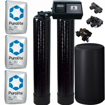 Dual Alternating Tank 1.5 cubic Foot (48k) Fleck 9100SXT On Demand Whole Home Water Softener with Purolite C100E Resin