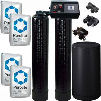 Dual Alternating Tank 2 cubic Foot (64k) Fleck 9100 On Demand Whole Home Water Softener with Purolite C100E Resin
