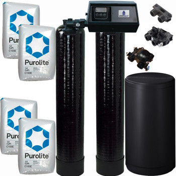 Alternating Tank 2 cubic Foot (64k) Fleck 9100SXT On Demand Whole Home Water Softener with Purolite C100E Resin