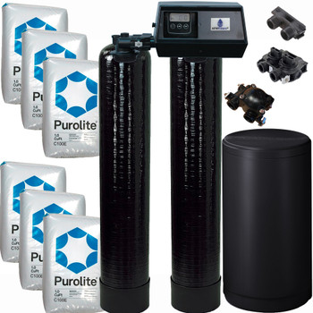 Dual Alternating Tank 3 cubic Foot (96k) Fleck 9100SXT On Demand Whole Home Water Softener with Purolite C100E Resin