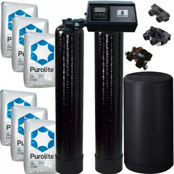 Dual Alternating Tank 3 cubic Foot (96k) Fleck 9100SXT On Demand Whole Home Water Softener with Purolite C100E Resin