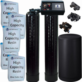 Dual Alternating Tank 2.5 cubic Foot (80k) Fleck 9100 On Demand Whole Home Water Softener with High Capacity Resin