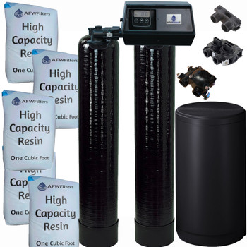 Dual Alternating Tank 2.5 cubic Foot (80k) Fleck 9100SXT On Demand Whole Home Water Softener with High Capacity Resin