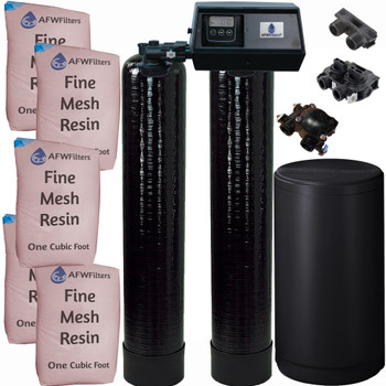 Dual Alternating Tank Iron Pro 2.5 cubic Foot (80k) Fleck 9100SXT On Demand Whole Home Water Softener with Fine Mesh Resin