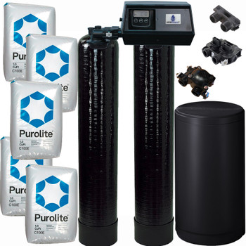 Dual Alternating Tank 2.5 cubic Foot (80k) Fleck 9100SXT On Demand Whole Home Water Softener with Purolite C100E Resin