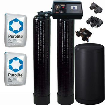Dual Alternating Tank 1 cubic Foot (32k) Fleck 9100 On Demand Whole Home Water Softener with Purolite C100E Resin