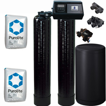 Dual Alternating Tank 1 cubic Foot (32k) Fleck 9100SXT On Demand Whole Home Water Softener with Purolite C100E Resin