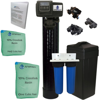 Package Deal - 2-Stage Big Blue Filter and Upgraded 1.5 cubic Foot (48k) On Demand Whole Home Water Softener with 10% Crosslink Resin