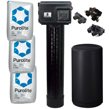 Complete 3 Cu Ft (96k max) Purolite C100E Water Softener with Fleck 2510SXT Digital Metered Control Head