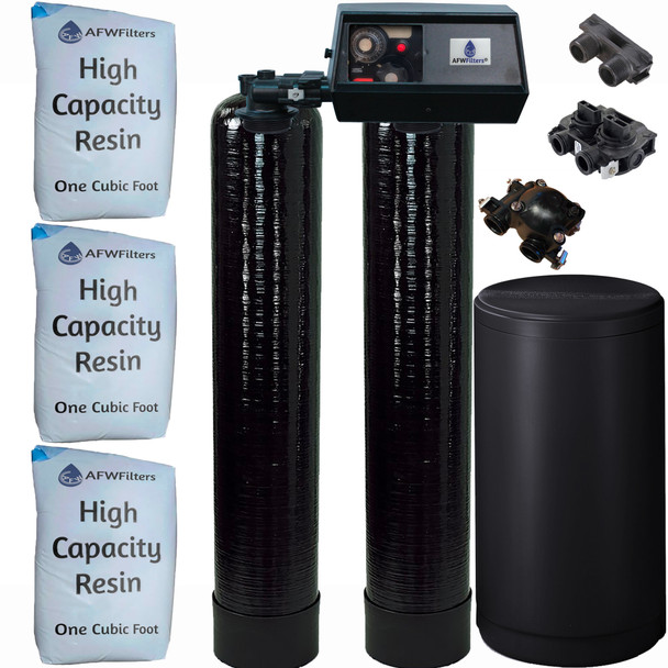 Dual Alternating Tank 1.5 cubic Foot (48k) Fleck 9100 On Demand Whole Home Water Softener with High Capacity Resin
