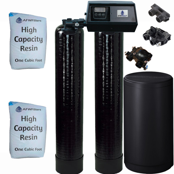 Dual Alternating Tank 1 cubic Foot (32k) Fleck 9100SXT On Demand Whole Home Water Softener with High Capacity Resin