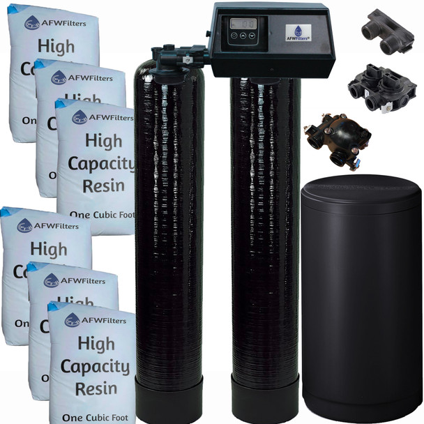 Dual Alternating Tank 3 cubic Foot (96k) Fleck 9100SXT On Demand Whole Home Water Softener with High Capacity Resin