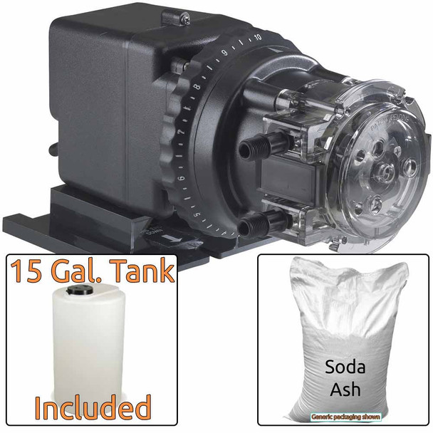 Soda Ash Injection System for Acidic Water - Includes Stenner 85MHP17 Injection Pump & 15 Gal. Solution Tank