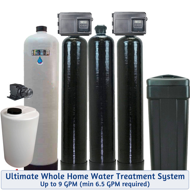 Whole House Chlorine Injection, Mixing Tank, Filox Iron Filter, Upflow Carbon Filter, and 48k Water Softener -For Bacteria-Iron-Smells-Tastes-Odors-Hardness-up to 9 GPM