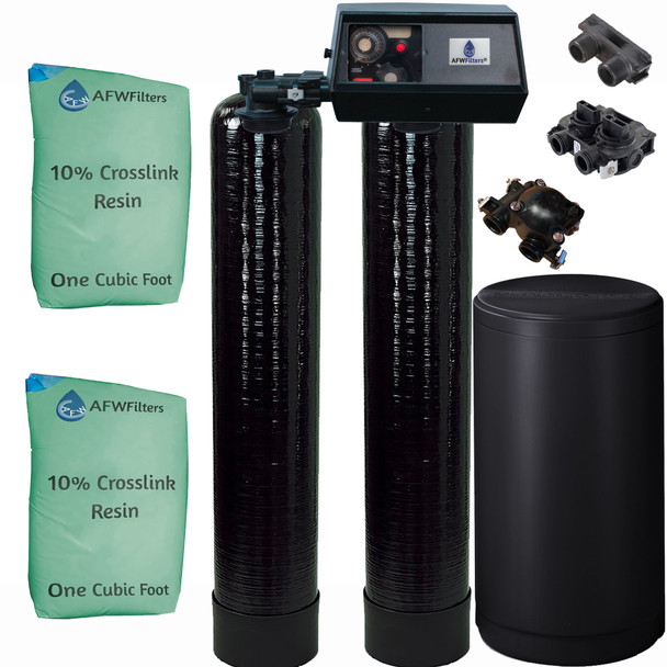 Dual Alternating Tank Upgraded 1 cubic Foot (32k) Fleck 9100 On Demand Whole Home Water Softener with 10% Crosslink Resin