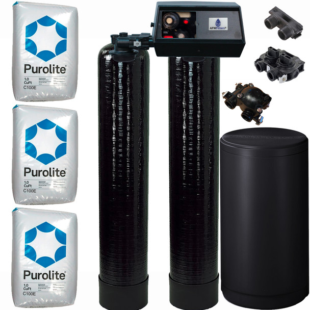 Dual Alternating Tank 1.5 cubic Foot (48k) Fleck 9100 On Demand Whole Home Water Softener with Purolite C100E Resin