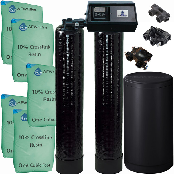 Dual Alternating Tank Upgraded 2.5 cubic Foot (80k) Fleck 9100SXT On Demand Whole Home Water Softener with 10% Crosslink Resin