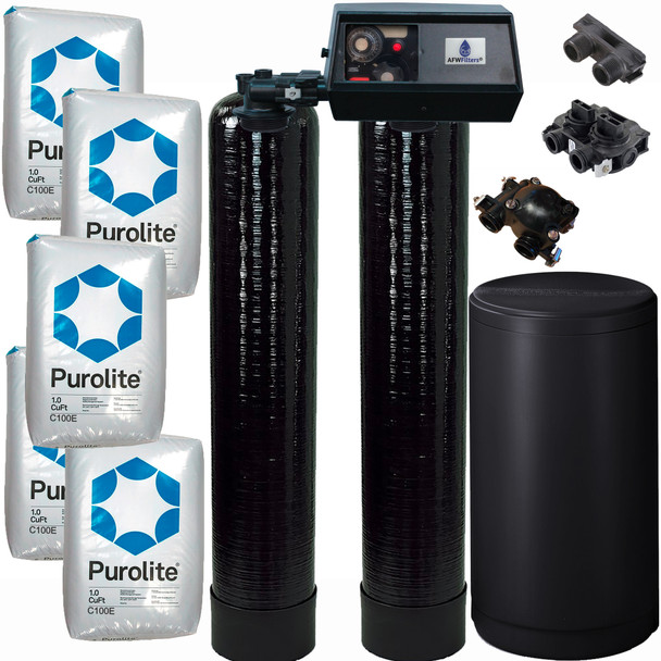 Dual Alternating Tank 2.5 cubic Foot (80k) Fleck 9100 On Demand Whole Home Water Softener with Purolite C100E Resin
