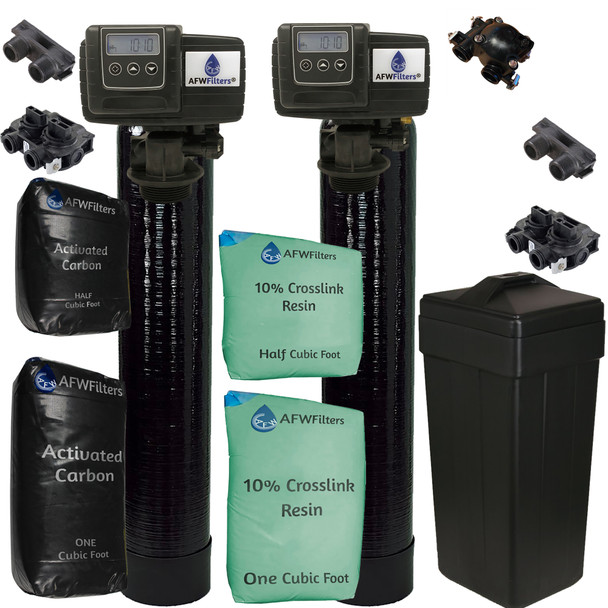 Combo Package Fleck 5600SXT 48,000 Grain Water Softener and Backwashing Carbon Filter