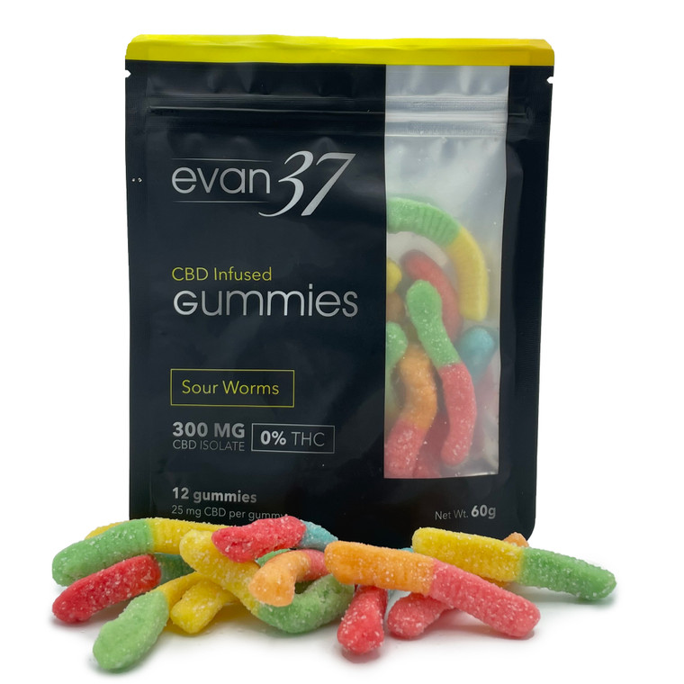Evan 37 - Sour 300mg CBD infused Gummy Worms - Front