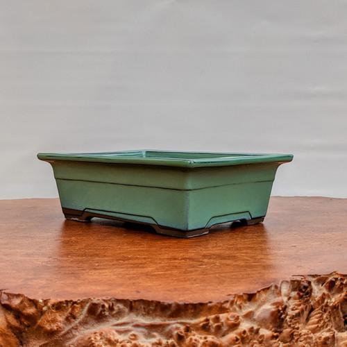 Oribe Glazed Rectangle Bonsai Pot in Light Green