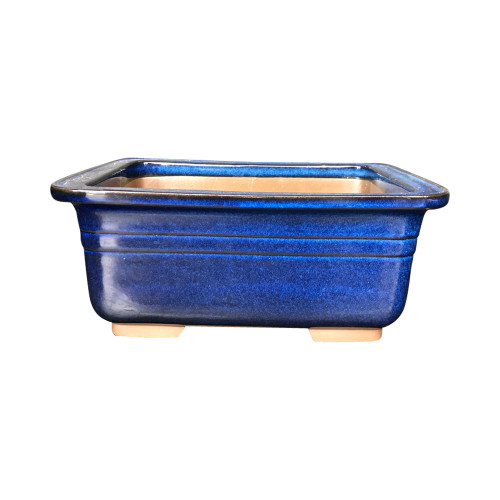 Namako Glazed Rectangle Bonsai Pot in Blue