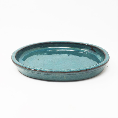 "6 1/2"" Teal Oval Ceramic Humidity Tray (HTOG-6)"
