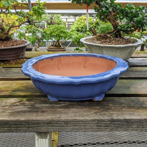"""11"""" Glazed Ceramic Pot in Blue - HC134"""