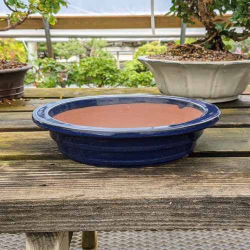 """11"""" Glazed Ceramic Pot in Dark Blue (HC148)"""
