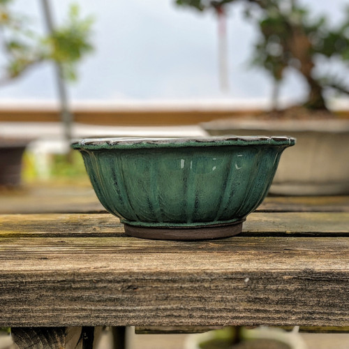 Glazed Round Ceramic Pot in Blue/Green (Choose Your Size)
