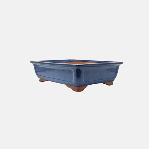 """16"""" Glazed Rectangle Ceramic Pot in Blue (YX1416)"""