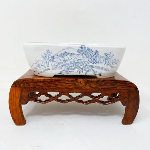 """4.5"""" Painted Japanese Pot for Kusamono, Accessory or Shohin Planting (KUS014)"""