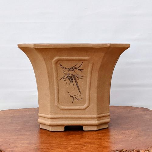 "11"" Etched Unglazed Yixing Ceramic Pot For Cascade Bonsai (1667)"