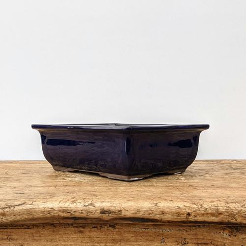 Blue Glazed Rectangular Bonsai Pot (No. 3013)