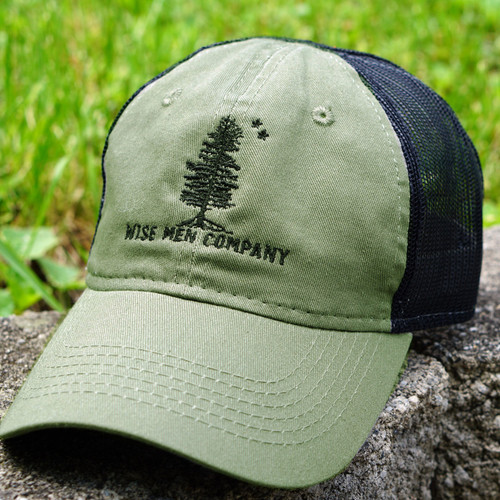 The Wise Men Company Range Cap in OD Green and Black mesh.