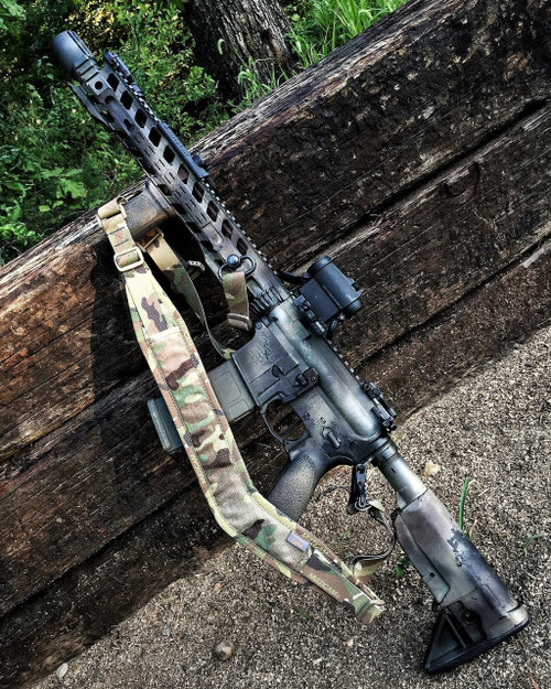 Multicam Sling shown mounted on rifle